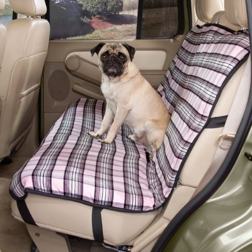 Guardian Gear Polyester/Cotton Plaid Design Dog Car Seat Cover, Pink
