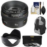 Canon EF 50mm f/1.4 USM Lens with Backpack Case + 3 UV/CPL/ND8 Filters + Lens Hood + Cleaning Kit for EOS 60D, 7D, 5D Mark II III, Rebel T3, T3i, T4i Digital SLR Cameras