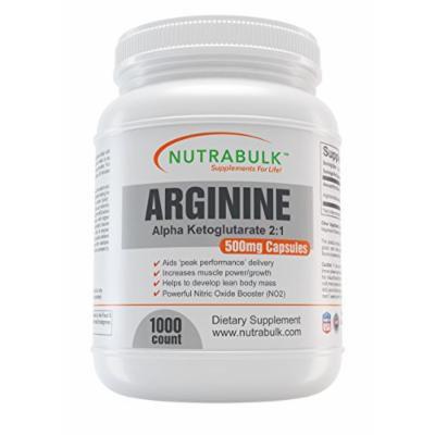 NutraBulk Premium Arginine AKG (Alpha KetoGlutarate) 500mg Capsules - 1,000 count