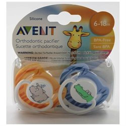 Philips Avent BPA Free Fashion Pacifiers - 6 - 18 Months (Dark Blue & Orange)