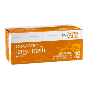Guaranteed Value Drawstring Large Trash Bags