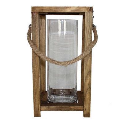 Kohls Large Wooden and Glass Candle Lantern (Beige/Khaki)