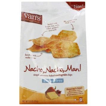 Vans Van's Natural Foods Nacho, Nacho, Man! Baked Multigrain Chips, 5.5 oz, (Pack of 6)