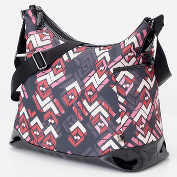 OiOi Hobo Diaper Bag - Rose Chevron with Black Patent Trim