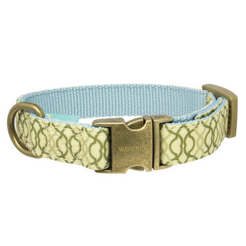 Waverly Latte Fashion Canvas Dog Collar - Light Mint Metal (Small)