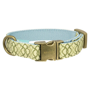 Waverly Latte Fashion Canvas Dog Collar - Light Mint Metal (XSmall)