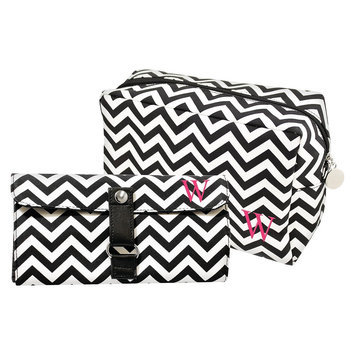 Cathys Concepts Cathy's Concepts Personalized Bag & Makeup Brush Set - Black