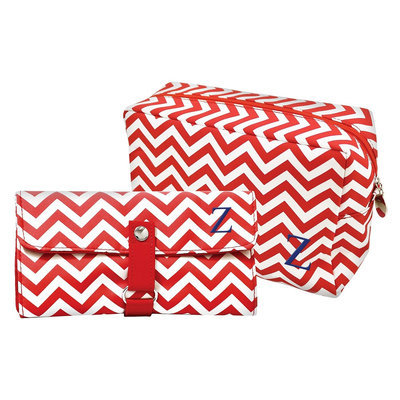 Cathys Concepts Cathy's Concepts Personalized Bag & Makeup Brush Set - Red