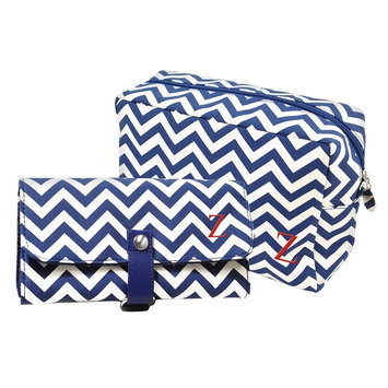 Cathys Concepts Cathy's Concepts Personalized Bag & Makeup Brush Set - Navy