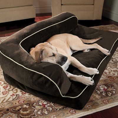 Doctors Foster & Smith Luxury Chaise Rectangular Pet Bed (Brown)