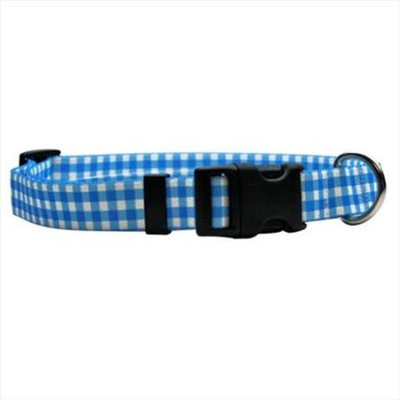 Yellow Dog Design GNB103L Gingham Blue Standard Collar - Large