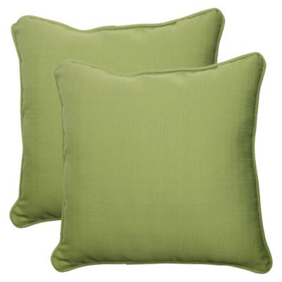 Pillow Perfect Outdoor 2-Piece Square Toss Pillow Set - Green Forsyth Solid
