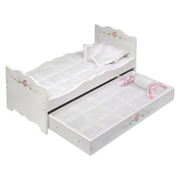 Badger Basket White Rose Doll Bed with Trundle