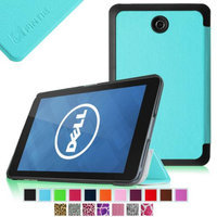 Fintie Slim Shell Leather Case Cover For Dell Venue 7 / New Dell Venue 7 (2014 Version) 7-Inch Android Tablet, Blue