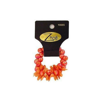 Zhoe Floral Bead Hair Scrunchie 10065 Coral