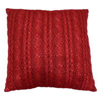 St. Nicholas Square Red Cable Knit Throw Pillow