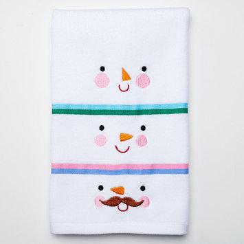 St. Nicholas Square® Three Snowman Faces Hand Towel, White