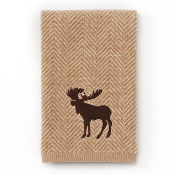 St. Nicholas Square® Moose Chevron Fingertip Towel, Beig/Khaki