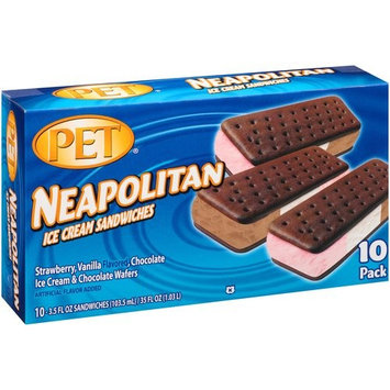 PET Neapolitan Ice Cream Sandwiches, 3.5 fl oz, 10 count