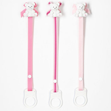 Baby Buddy 3-pk. Bear Pacifier Holder (Pink)