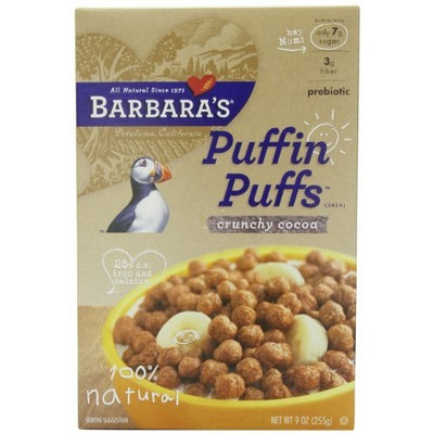 Barbara's Bakery Puffin Puffs Cereal, Crunchy Cocoa, 9-Ounce Boxes (Pack of 6)