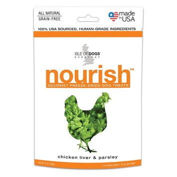 Isle of Dogs 2-Ounce Nourish Freeze-Dried Dog Treats - Chicken Liver & Parsley (Natural)