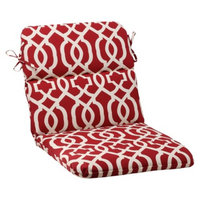 Pillow Perfect Outdoor Rounded Chair Cushion - Red/White Geometric