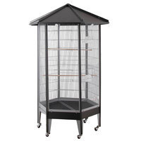 HQ 61818bk 34 in. Hexagonal Aviary with Solid Roof - Black