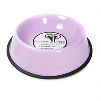 Platinum Pets 1-Cup Stainless Steel Embossed No-Tip Puppy Dog Bowl (Purple)