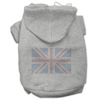 Mirage Pet Products 5416 XXLGY British Flag Hoodies Grey XXL 18