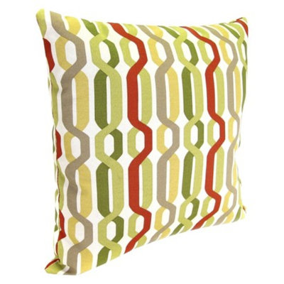 Jordan Outdoor Square Toss Pillow - Red/Green Geometric