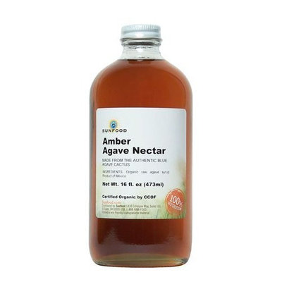 Sunfood Premium Amber Agave Nectar (Organic, Raw), 16-Ounce Glass Bottle