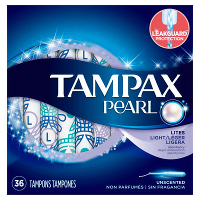 Tampax Pearl Light Plastic Tampons, Unscented