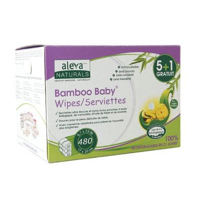 Aleva Naturals Bamboo Baby Wipes (5+1) Original, 480 ea
