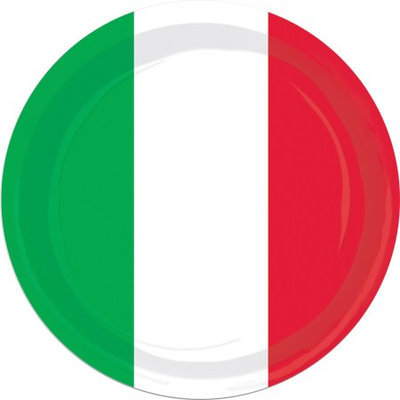 Beistle 58009 Red- White and Green Plates - Pack of 12