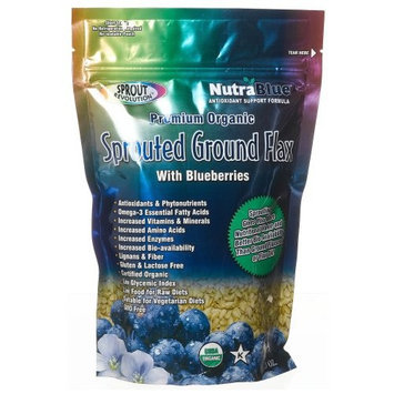 Sprout Revolution Nutrablue Sprouted Flax Seed Powder with Blueberries, 16 Ounce Pouch