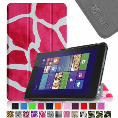 Fintie Slim Shell Leather Case for New Dell Venue 8 (2014 Version) 8-Inch Android Tablet, Giraffe Magenta