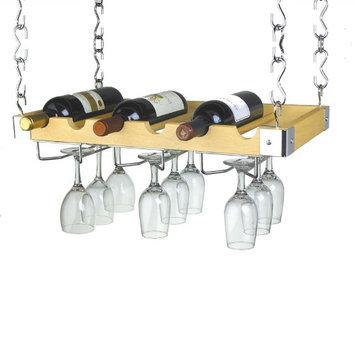 Concept Housewares Umber Wood Finish 8-bottle Ceiling/ Wall Wine Rack
