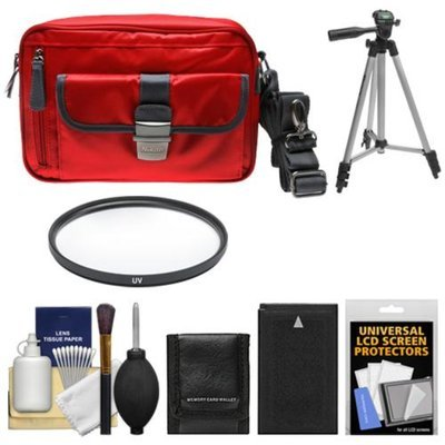 Nikon 1 Series Deluxe Digital Camera Case (Red) with EN-EL20 Battery + UV Filter + Tripod + Accessory Kit for J1, J2, J3, S1, AW1