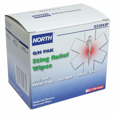 NORTH BY HONEYWELL 032043P Sting Relief Wipes,5-3/4 In, PK100