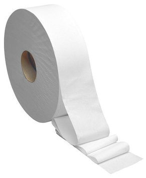 TOUGH GUY 31KY19 Toilet Paper, Jumbo, White,12 in. dia, PK6