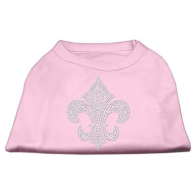 Mirage Pet Products 5230 XXLLPK Silver Fleur de lis Rhinestone Shirts Light Pink XXL 18