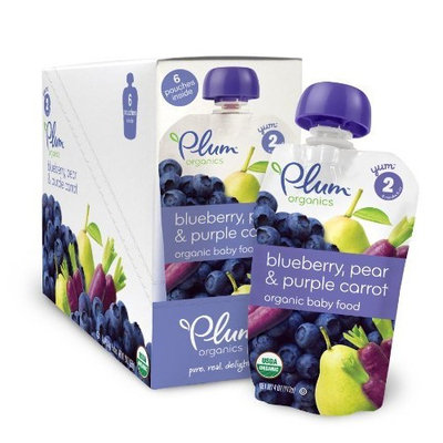 Plum Organics Baby Second Blends, Blueberry, Pear and Purple Carrot, 4.0-Ounce Pouches (Pack of 12)