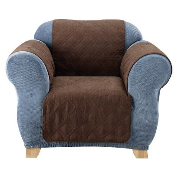 Sure Fit Quilted Suede Furniture Friend Pet Chair Cover - Chocolate