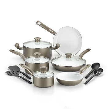 T-Fal Inspirations 14-pc. Ceramic Cookware Set (Beige/Khaki)