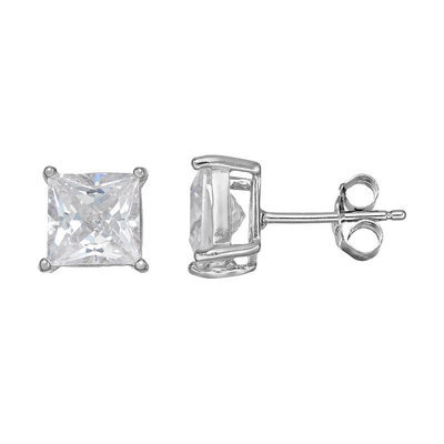Cubic Zirconia Silver-Plated Solitaire Stud Earrings (White)