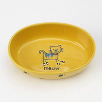 Petrageous Designs Silly Kitty Oval Pet Bowl - Yellow - 6.5