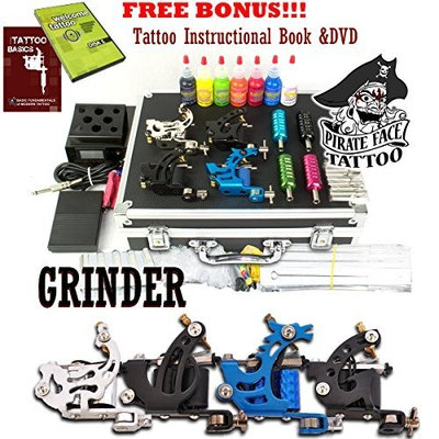 GRINDER Complete Tattoo Kit by Pirate Face Tattoo / 4 Tattoo Machine Guns - Power Supply / 7 Ink by Radiant Colors - Made in the USA / LCD Power Supply / 50 Needles / PLUS Accessories