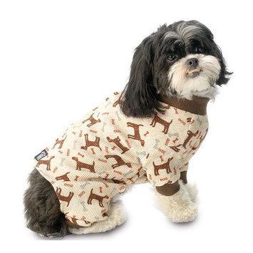 PetRageous Designs Comfy Knit Cuddle Up Pet Pajamas, Size: XS (Brown)