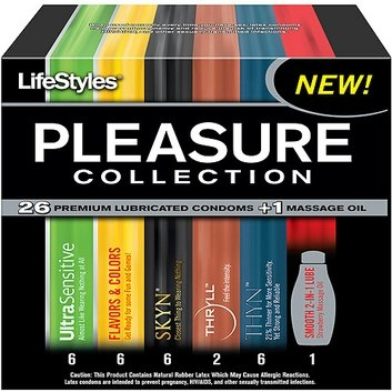 Lifestyles Pleasure Collection Condoms & Lubricant Pack